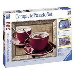 Puzzle Ravensburger de 500 piezas Set de base y puzzle La hora del capuchino