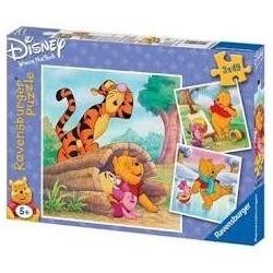Puzzle Ravensburguer de 3 x 49 piezas. Winnie y Cochinillo