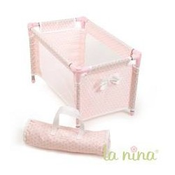 Cama de viaje topo rosa