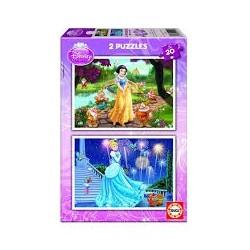 Puzzle Educa de 2 x 20 piezas Princesas Disney. Cenicienta- Blancanieves