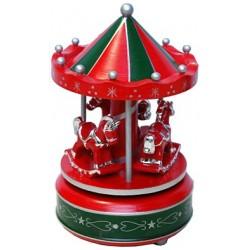 Tiovivo musical pequeño verde y rojo de madera