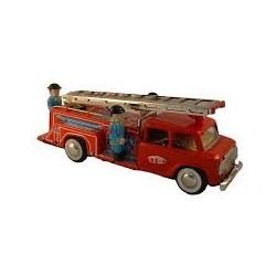 Camión de bomberos con escalera móvil de hojalata
