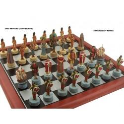 Fichas de ajedrez Españoles-Mayas